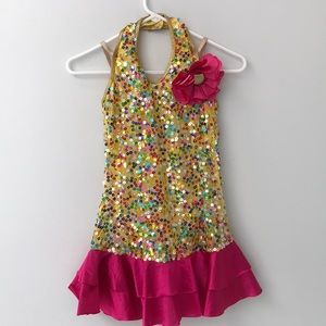 Pink and yellow sequin dance costume